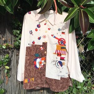 Artsy double collar button up blouse